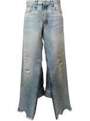 R 13 R13 Distressed Wide Leg Jeans Blue