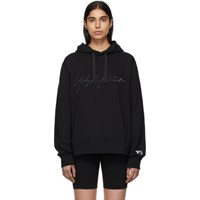 Y 3 Black Signature Graphic Hoodie