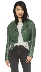 Tibi Cropped Moto Jacket Vine Green