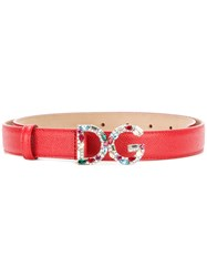Dolce And Gabbana Logo Belt Women Leather 90 Red