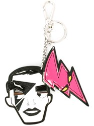 Dsquared2 'Punk' Face Dual Keyring White