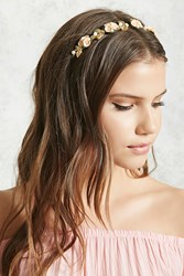 Forever 21 Floral Faux Pearl Headband Gold Peach