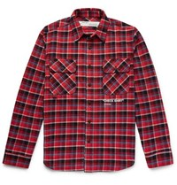 Off White Printed Checked Cotton Blend Flannel Overshirt Red