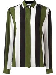 Msgm Concealed Fastening Striped Shirt Green
