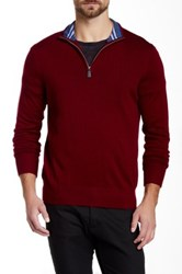 Tailorbyrd Cornell Quarter Zip Wool Sweater Red