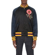 Gucci Souvenir Satin Bomber Jacket Navy Black