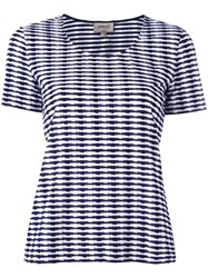 Armani Collezioni Striped Round Neck T Shirt Blue