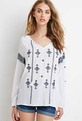Forever 21 Embroidered Gauze Peasant Top White Navy