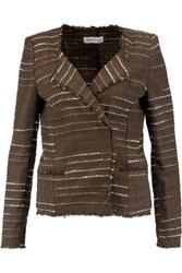 Etoile Isabel Marant Glenn Striped Cotton Blend Boucle Jacket Brown