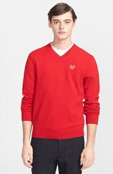 Men's Comme Des Garcons 'Play' Wool V Neck Sweater With Heart Applique Red