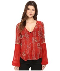 Free People Viscose Gorgette Firecracker Embellished Top Red Women's Long Sleeve Button Up