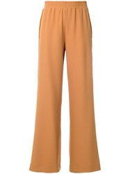 See By Chloe Laddered Trim Wide Leg Trousers Brown