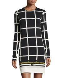 Julie Brown Morgan Grid Print Long Sleeve Shift Dress Black Davenport