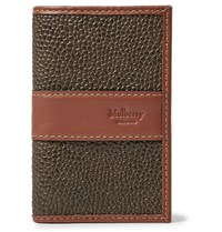 Mulberry Leather Trimmed Pebble Grain Coated Canvas Bifold Cardholder Army Green