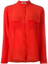 Cacharel Mandarin Neck Shirt Red