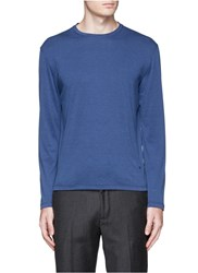 Isaia Silk Cotton Long Sleeve T Shirt Blue