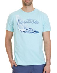Nautica Sail Boat Graphic Tee Bright Aqua