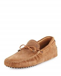 Tod's Perforated Suede Driver Tan