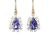 Irene Neuwirth Diamond Collection Women's White Diamond And Tanzanite Drop Earrings Red Purple No Color Red Purple No Color