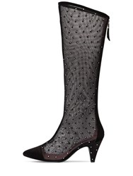Les Petits Joueurs 80Mm Tall Embellished Mesh Boots Black