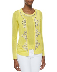 Michael Simon Button Front Cardigan With Bead Trim Yellow Petite