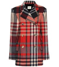Khaite The Clara Checked Wool Blend Coat Red