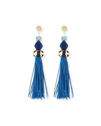Akola Bone And Raffia Fringe Drop Earrings Blue