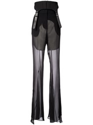 Vera Wang Flared Transparent Styled Trousers Black