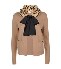Claudie Pierlot Mariejo Faux Fur Collar Cardigan Female Camel