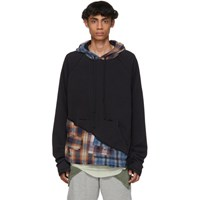 Greg Lauren Multicolor 50 50 Mixed Plaid Hoodie Blk Org Blu