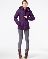 Rampage Hooded Quilted Puffer Coat Purple