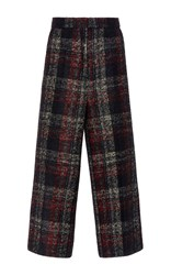 Rochas Checked Alpaca Wool Pant Black