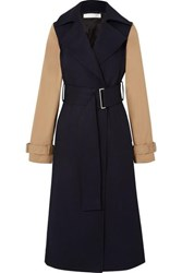 Victoria Beckham Two Tone Wool Gabardine And Cotton Blend Canvas Trench Coat Navy
