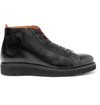 Oliver Spencer Johnnie's Suede Panelled Leather Boots Black