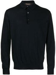 Loro Piana Long Sleeve Polo Sweatshirt Blue