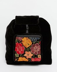 Hiptipico Velvet Backpack With Floral Embroidery Black
