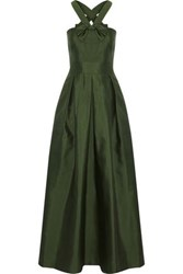 Raoul Bow Detailed Satin Twill Gown Army Green