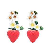 Dolce And Gabbana Crystal Embellished Resin Earrings Red