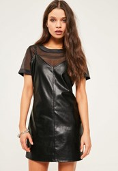 Missguided Petite Exclusive Black Faux Leather Cami Overlay Dress