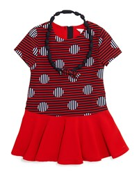 Little Marc Jacobs Short Sleeve Striped Dropped Waist Dress And Necklace Red