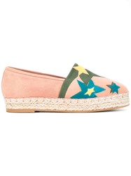 Elie Saab Star Patch Espadrilles Women Leather Suede Rubber 40 Pink Purple