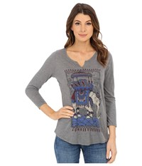 Lucky Brand Sketched Elephant Tee Heather Grey Women's T Shirt Gray