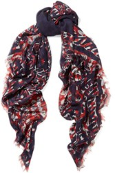Alexander Mcqueen Printed Silk And Modal Blend Chiffon Scarf Navy