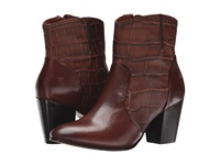 Trask Ronda Brown Italian Calf Brown Italian Croc Embossed Calf Women's Dress Boots