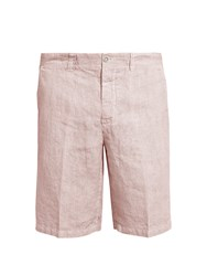 120 Lino Mid Rise Slim Leg Striped Linen Shorts Pink