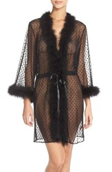 Women's Betsey Johnson Feather Accent Sheer Short Robe