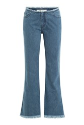 Marques Almeida Cropped And Flared Jeans Blue