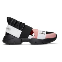 Emilio Pucci Black And Pink City Up Ruffle Sneakers