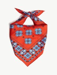 Sandro Geometric Print Silk Scarf Red