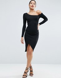 Asos Rib Long Sleeve Off Shoulder Midi Bodycon Dress Black
